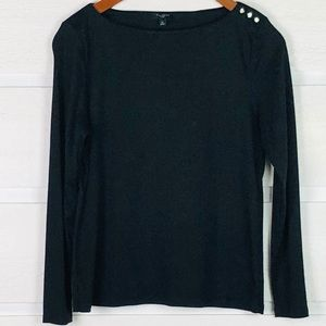 TALBOTS Black Modal Tee with Rhinestone Buttons